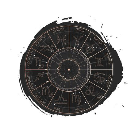 Vector illustration of Zodiac signs and Horoscope circle on a grunge ink background. Image in gold and black color.