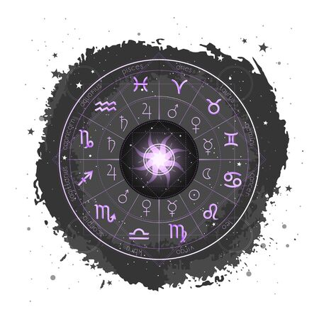 Illustration with Horoscope circle, Zodiac signs and pictograms astrology planets on a grunge background with Sun. Vector. Image in purple and black color.