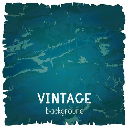 Vector vintage background with torn edges. Grunge texture of old paper. Blue and green color. Иллюстрация