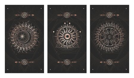 Vector set of three dark illustrations with sacred geometry symbols and grunge textures. Images in black and gold colors. Vettoriali