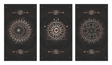 Ensemble vectoriel de trois illustrations sombres avec des symboles de géométrie sacrée et des textures grunge. Images en couleurs noir et or. Vecteurs
