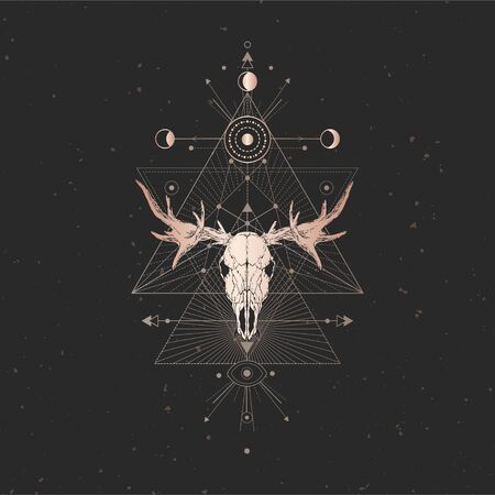 Vector illustration with hand drawn Moose skull and Sacred geometric symbol on black vintage background. Abstract mystic sign. Gold linear shape. For you design and magic craft. Ilustração