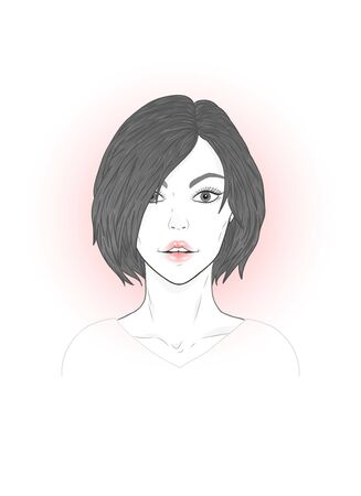 Vector portrait of a beautiful young woman with modern short haircut on a white background.