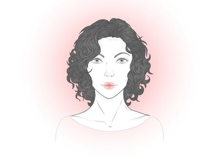 Vector portrait of a beautiful young woman with curly hair on a white background. Çizim