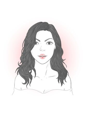 Vector portrait of a beautiful young woman with flowing hair on a white background. 向量圖像