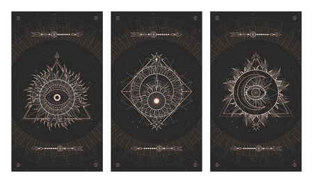 Vector set of three dark illustrations with sacred geometry symbols and grunge textures. Images in black and gold colors.