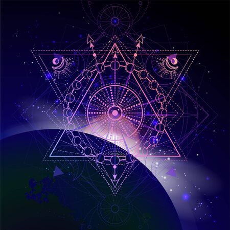 Vector illustration of Sacred geometric symbol against the space background with sunrise and stars. Mystic sign drawn in lines. Image in purple color. Ilustração