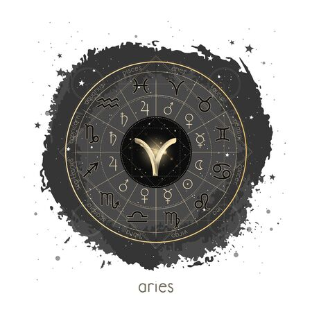 Vector illustration with Horoscope circle, pictograms astrology planets, Zodiac signs and constellation Aries on a grunge background with geometry pattern. Image in gold and black color.