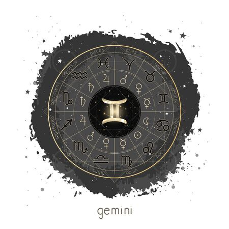 Vector illustration with Horoscope circle, pictograms astrology planets, Zodiac signs and constellation Gemini on a grunge background with geometry pattern. Image in gold and black color.