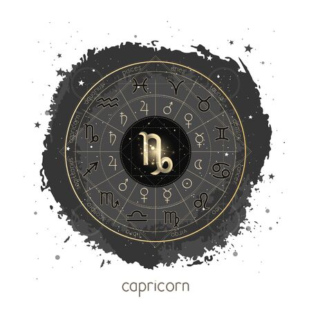 Vector illustration with Horoscope circle, pictograms astrology planets, Zodiac signs and constellation Capricorn on a grunge background with geometry pattern. Image in gold and black color.
