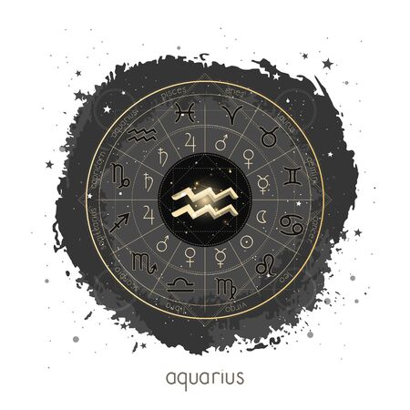 Vector illustration with Horoscope circle, pictograms astrology planets, Zodiac signs and constellation Aquarius on a grunge background with geometry pattern. Image in gold and black color.