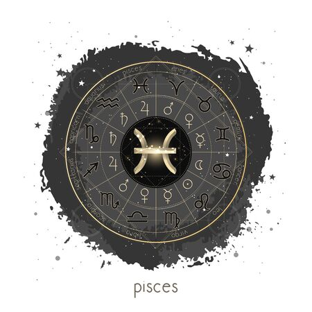 Vector illustration with Horoscope circle, pictograms astrology planets, Zodiac signs and constellation Pisces on a grunge background with geometry pattern. Image in gold and black color. Ilustração