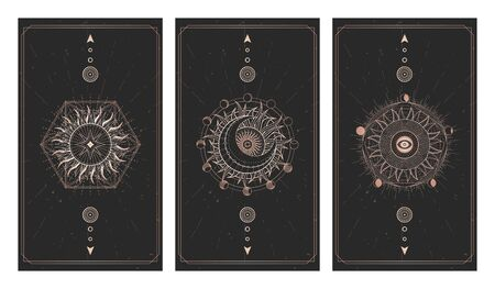 Vector set of three dark illustrations with sacred geometry symbols, grunge textures and frames. Images in black and gold colors. Imagens - 148974673