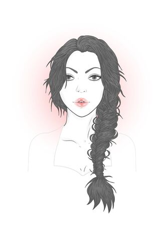 Vector portrait of a beautiful young woman with french braid on a white background. Imagens - 148974671