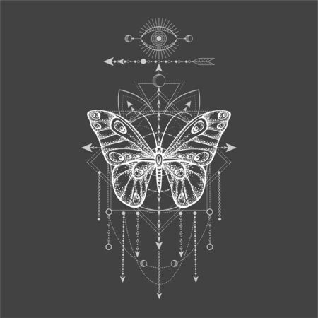 Vector illustration with hand drawn butterfly and Sacred geometric symbol on black background. Abstract mystic sign. White linear shape. For you design, tattoo or magic craft. Ilustração