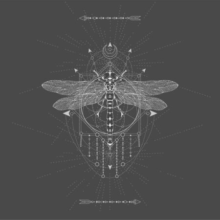 Vector illustration with hand drawn Dragonfly and Sacred geometric symbol on black background. Abstract mystic sign. White linear shape. For you design, tattoo or magic craft. Imagens - 149369175