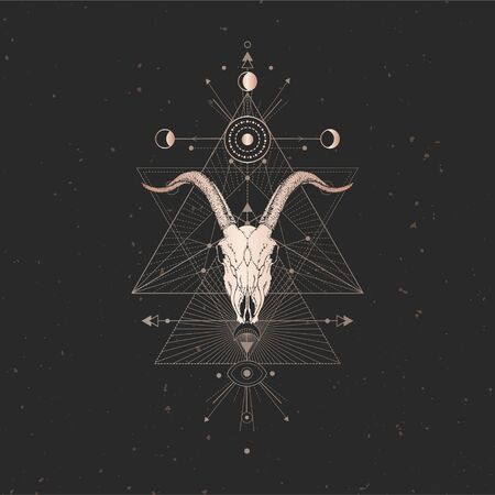 Vector illustration with hand drawn Goat skull and Sacred geometric symbol on black vintage background. Abstract mystic sign. Gold linear shape. For you design and magic craft. Imagens - 149370914