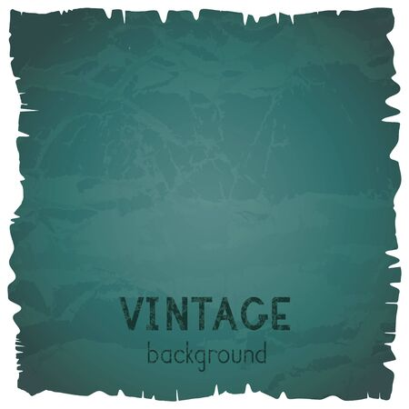 Vector vintage background with torn edges. Grunge texture of old paper. Green. Vettoriali