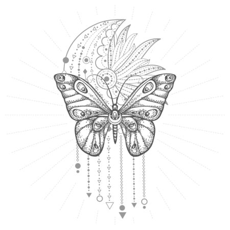 Vector illustration with hand drawn butterfly and Sacred geometric symbol on white background. Abstract mystic sign. Black linear shape. For you design, tattoo or magic craft. Imagens - 149808105