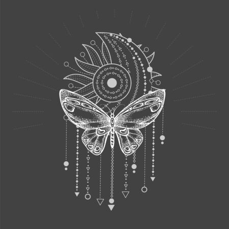 Vector illustration with hand drawn butterfly and Sacred geometric symbol on black background. Abstract mystic sign. White linear shape. For you design, tattoo or magic craft. Imagens - 149808108