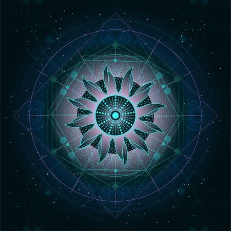 Vector illustration of Sacred geometry symbol on abstract background. Mystic sign drawn in lines. Image in blue and green color. For you design or magic craft.