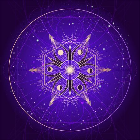 Vector illustration of Sacred geometry symbol on abstract background. Mystic sign drawn in lines. Image in purple color. For you design or magic craft. Imagens - 149745571