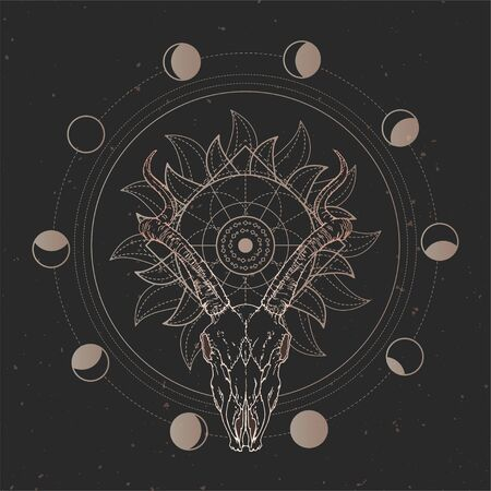 Vector illustration with hand drawn Antelope skull and Sacred geometric symbol on black vintage background. Abstract mystic sign. Gold linear shape. For you design and magic craft. Imagens - 149808110