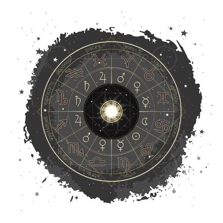 Vector illustration with Horoscope circle, Zodiac signs and pictograms astrology planets on a grunge background with Sun. Image in yellow and black color. Imagens - 149808112