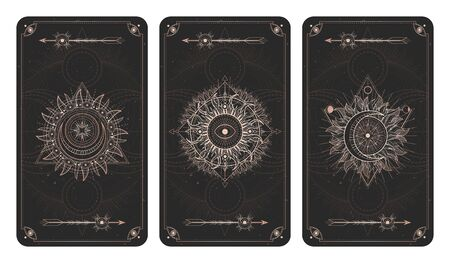 Vector set of three dark illustrations with sacred geometry symbols, grunge textures and frames. Images in black and gold colors. Imagens - 149746176