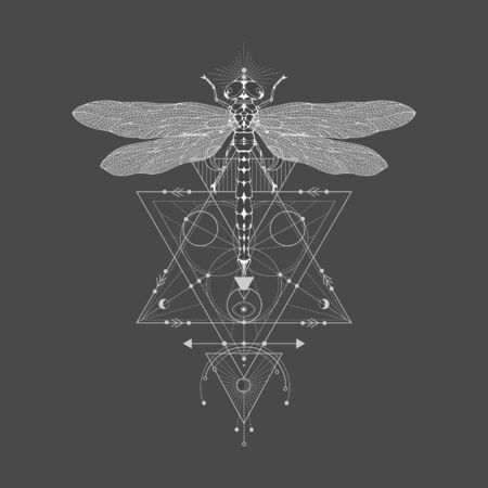 Vector illustration with hand drawn dragonfly and Sacred geometric symbol on black vintage background. Abstract mystic sign. White linear shape. For you design: tattoo, print, posters, t-shirts, textiles and other. Imagens - 150319110