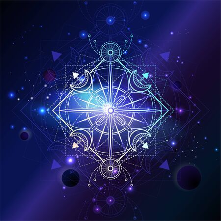 Vector illustration of Sacred geometric symbol against the space background with planets and stars. Mystic sign drawn in lines. Image in purple color. Ilustração