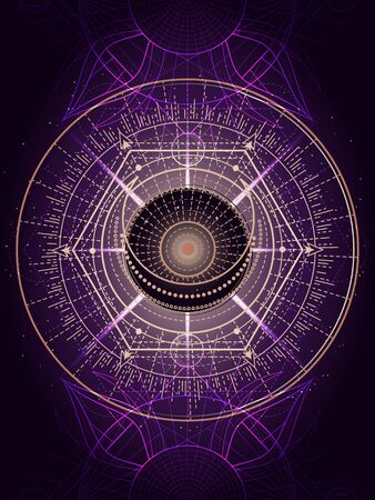 Vector illustration of Sacred geometry symbol on abstract background. Mystic sign drawn in lines. Image in purple color. For you design or magic craft. Imagens - 150319145