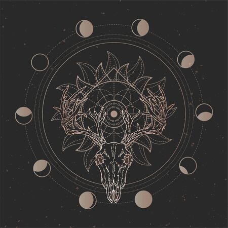 Vector illustration with hand drawn Stag skull and Sacred geometric symbol on black vintage background. Abstract mystic sign. Gold linear shape. For you design and magic craft. Ilustração