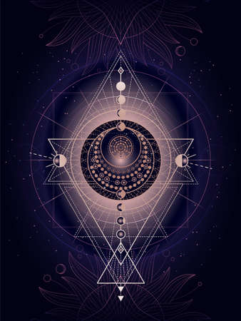 Vector illustration of Sacred geometry symbol on abstract background. Mystic sign drawn in lines. Image in purple color. For you design or magic craft. Ilustração