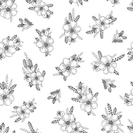 Vector seamless pattern with hand drawn flowers. Floral monochrome backgrounds.