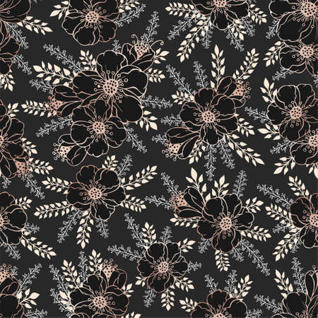 Vector seamless pattern with hand drawn gold flowers. Floral black backgrounds. Imagens - 151467919
