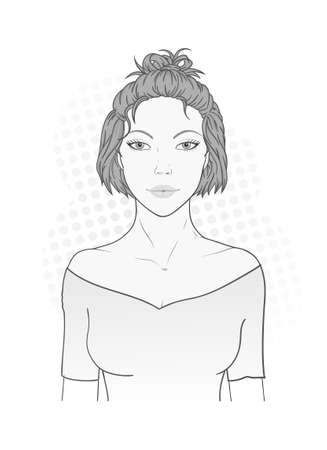 Vector illustration of a beautiful young woman with a modern short haircut on a white background. Monochrome image. Imagens - 151467918