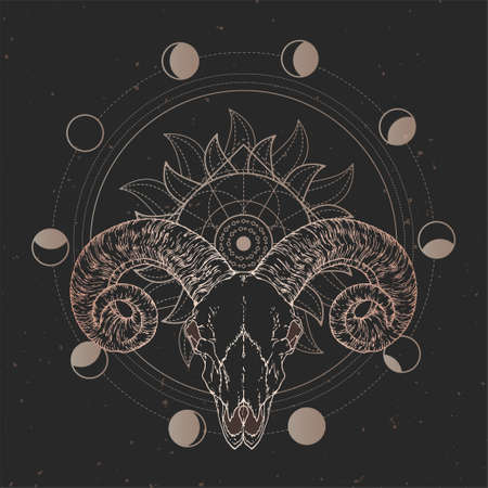 Vector illustration with hand drawn Ram skull and Sacred geometric symbol on black vintage background. Abstract mystic sign. Gold linear shape. For you design and magic craft. Imagens - 151467920