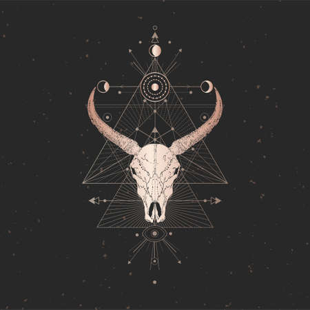 Vector illustration with hand drawn Wild buffalo skull and Sacred geometric symbol on black vintage background. Abstract mystic sign. Gold linear shape. For you design and magic craft. Imagens - 151465831