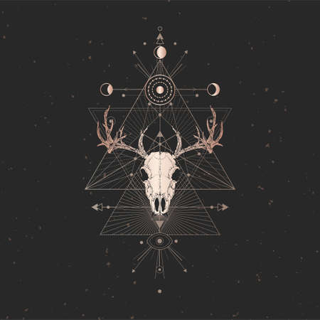 Vector illustration with hand drawn Deer skull and Sacred geometric symbol on black vintage background. Abstract mystic sign. Gold linear shape. For you design and magic craft. Imagens - 151465854