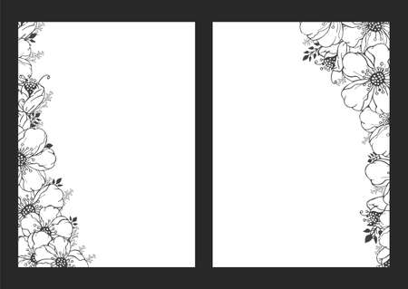 Vector floral monochrome backgrounds. Hand drawn flowers pattern.