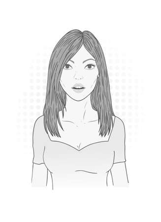Vector illustration of a beautiful young woman with long flowing hair on a white background. Monochrome image.
