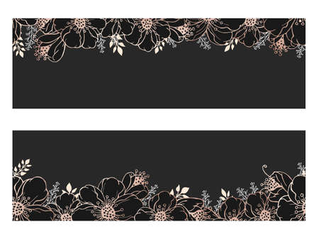 Vector horizontal seamless patterns with hand drawn flowers. Floral gold and black backgrounds.