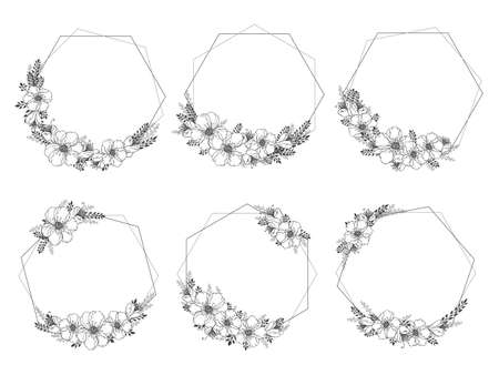 Vector set of frames with hand drawn flowers and floral elements. Decorative wreaths collection. Monochrome.