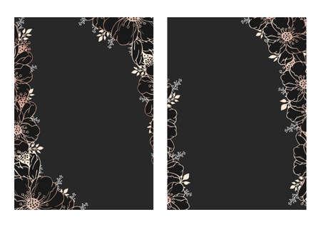 Vector hand drawn floral backgrounds with flowers. Floral gold and black patterns. Ilustração