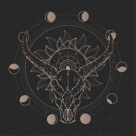 Vector illustration with hand drawn Wild buffalo skull and Sacred geometric symbol on black vintage background. Abstract mystic sign. Gold linear shape. For you design and magic craft. Imagens - 151784948