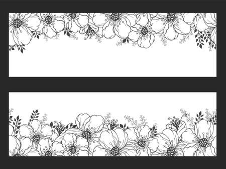 Vector horizontal seamless patterns with hand drawn flowers. Floral monochrome backgrounds. Imagens - 151784956