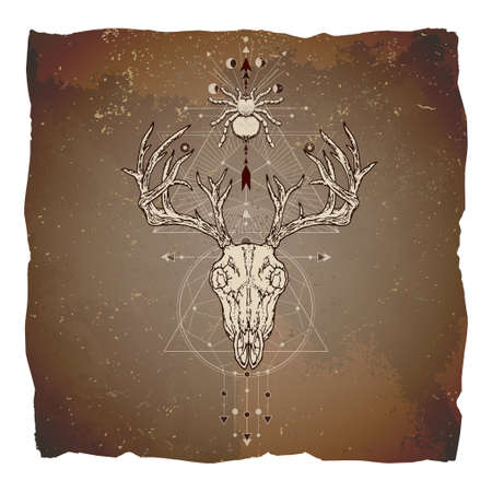 Vector illustration with hand drawn deer skull, spider and Sacred geometric symbol on vintage paper background with torn edges. Abstract mystic sign. Image in sepia and red color.
