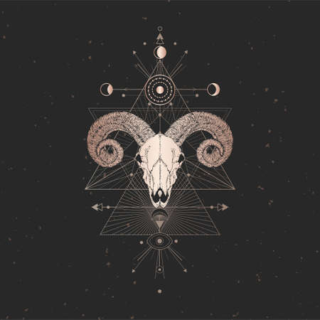 Vector illustration with hand drawn Ram skull and Sacred geometric symbol on black vintage background. Abstract mystic sign. Gold linear shape. For you design and magic craft.