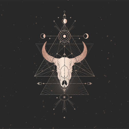 Vector illustration with hand drawn Bull skull and Sacred geometric symbol on black vintage background. Abstract mystic sign. Gold linear shape. For you design and magic craft. Ilustração